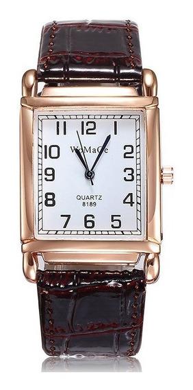 Relógio Retangular Rosê Pulseira Marron Rg009f Promoção!!!
