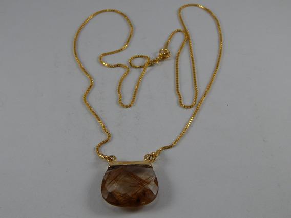 Colar Corrente De Ouro Com Pingente Cristal Rutilado C004
