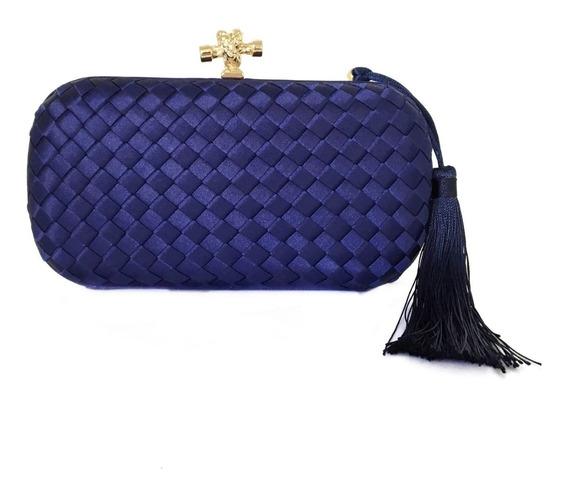 Bolsa Clutch Cetim Trançada Azul Escuro Pom-pom