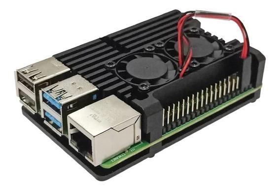 Kit Case Raspberry Pi 4 Pi4 Cooler Dissipador Liga Alumínio