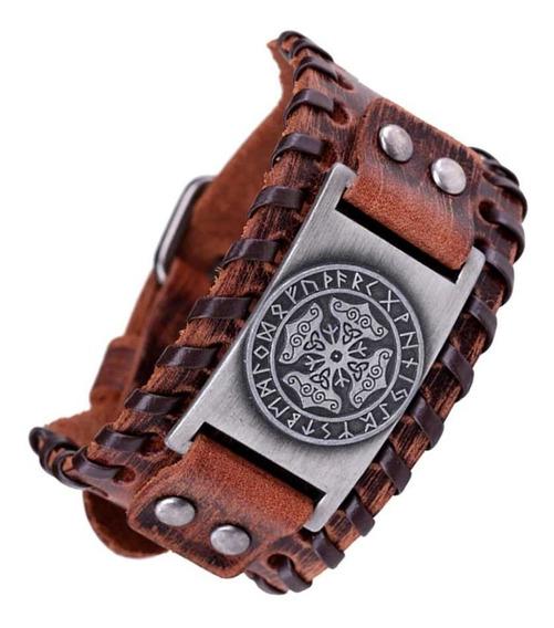 Bracelete Viking Couro Mjolnir Pulseira Couro Tribal Runas