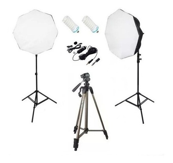 Kit Estúdio Youtuber - Softbox Tripés Lâmpadas Microfone