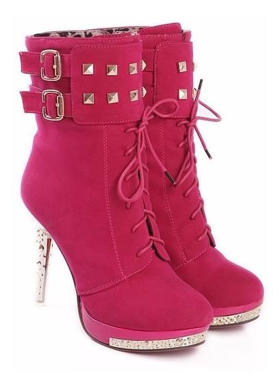 Ankle Boot Bota Feminina Salto Cromao