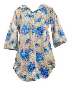 Saida Praia Feminina Camisão Camisa Botão