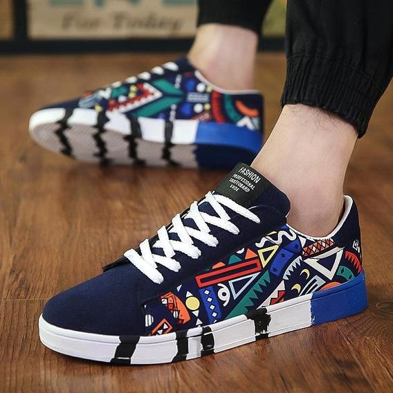 Sapatos - Graffiti Sneaker - Preto + Azul