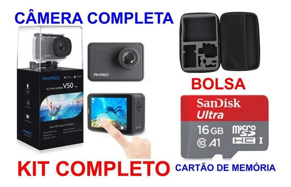 Camera Akaso V50 Pro Nativo 4k 30fps 20mp+ Cartão 16g+ Bolsa