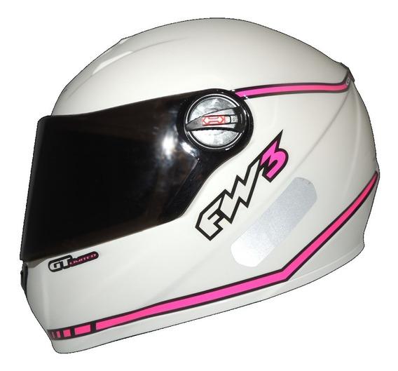 Capacete Fw3 Gt Limited Branco Com Rosa Viseira Cristal 56