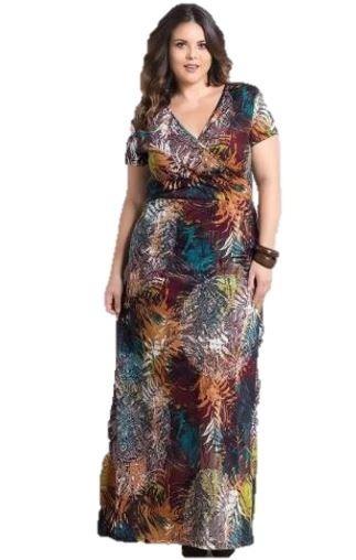 Vestido Longo Plus Size Mix De Estampas Marguerite - 2288961