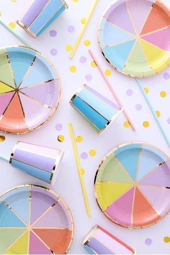 Plato Polipapel Descartable Multicolor Dorado Candy X6 Uni