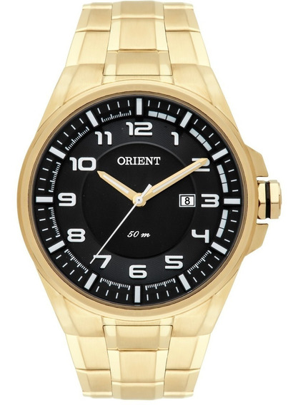 Relógio Orient Mgss1125 Masculino Mostrador Preto Dourado