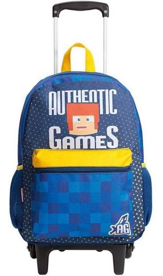 Mochilete Escolar Infantil De Rodinha Authentic Games 20m