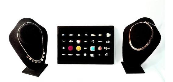 Kit De 3 Piezas Exhibidores P/anillos Y Collares