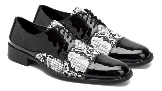 Zapatos Hombre Reptil Charol Cordón Eco Cuero Importados