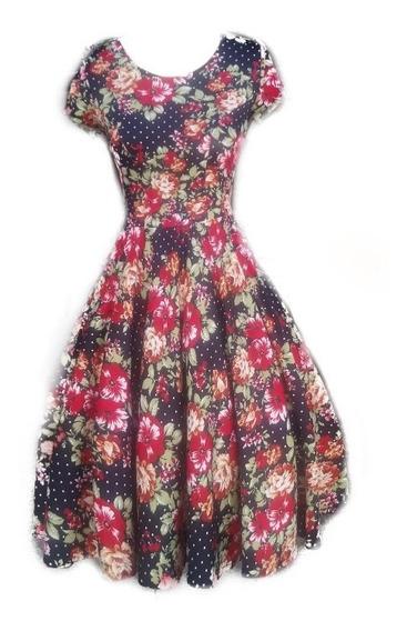 Vestido Floral Midi Godê Duplo Neoprene Moda Evangélica