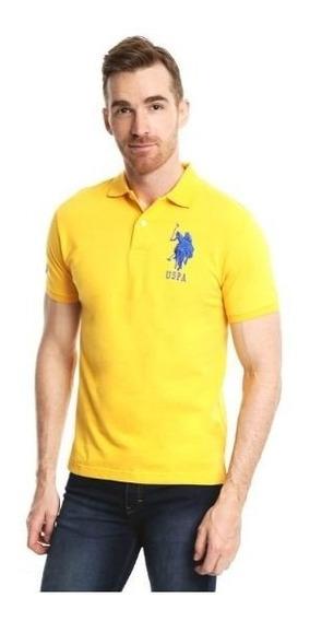 Us Polo Assn Playera Tipo Polo Amarilla Original Msi