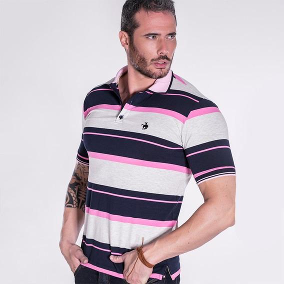 Camiseta Polo Terra De Peão Listra Rosa/cinza 50017.067