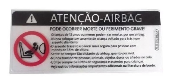 Etiqueta Para-brisa Air Bag Original Volkswagen 5u0010032a T