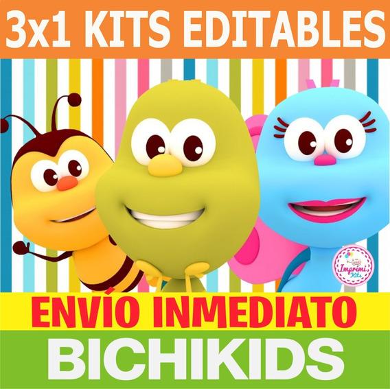 3x1 Promo Kit Imprimible Bichikids Candy Bar, Deco, Banderin
