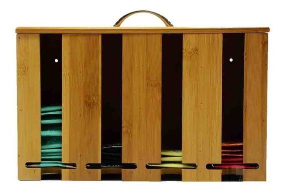 Caja Organizadora De Te Bambu 4 Divisiones