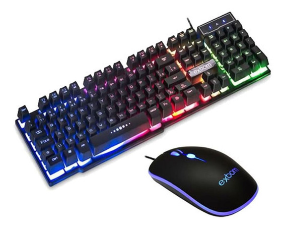 Teclado Gamer Led Colorido Semi-mecanico Pc Com Mouse