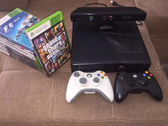Xbox 360 Slim Black Bloqueado, Kitnect, 9 Jogos,2 Controles