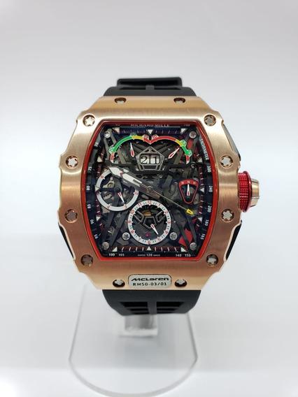 Reloj Richard Mille Mclaren Oro Rosa Caucho Negro Automatico