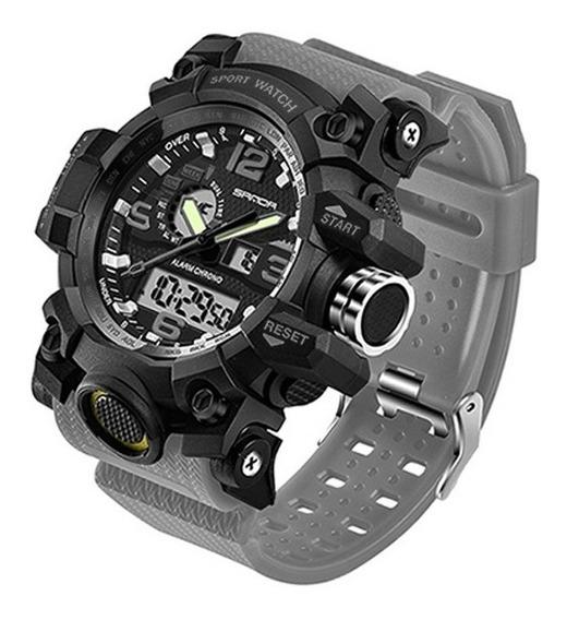 Reloj Hombre Deportivo Análogo Y Digital Fechador Rock Gris