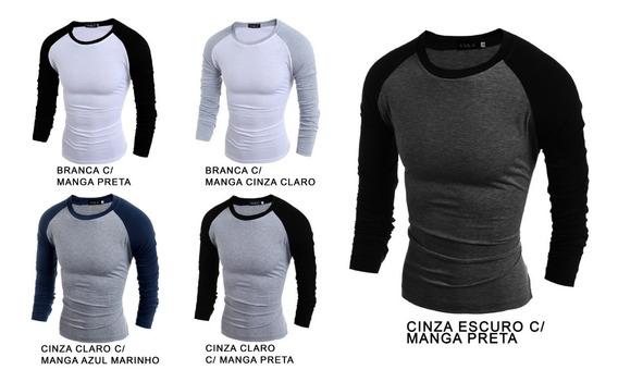 Kit 5 Camiseta Raglan Blusa Masculino Manga Longa Barato