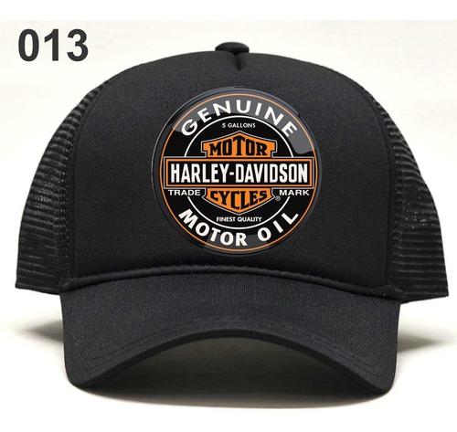 Imagem 1 de 1 de Boné Estampado Harley Davidson Placas Antigas Ótimo Preço