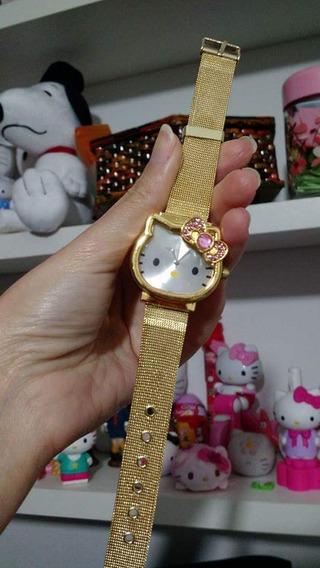 Relógio Dourado Hello Kitty