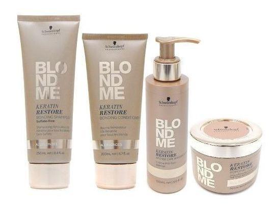 Schwarzkopf Blondme Kit Shampoo + Acond + Pocion + Mascara