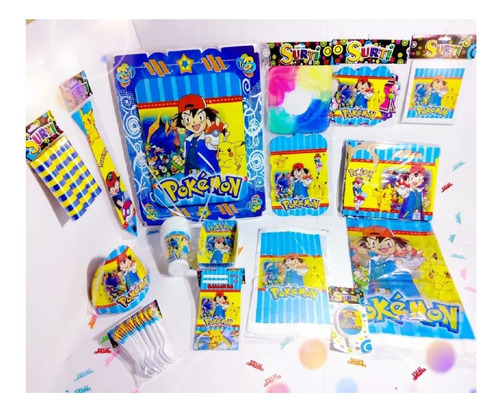 Set Kit Decoración Infantil Pokemón Fiesta Niños