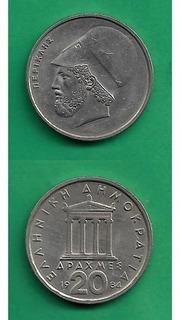 Grr-moneda De Grecia 20 Drachmes 1984 - Pericles
