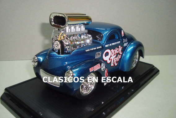 Willys 1941 Drag Hot Rod - Azul Maisto Muscle Machines 1/24