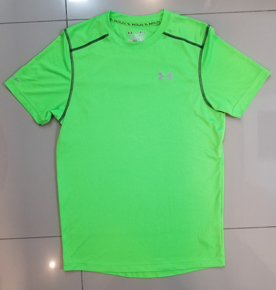 Camisa / Blusa Under Armour Run Heat Gear Refletiva Verde Original - Tam. P