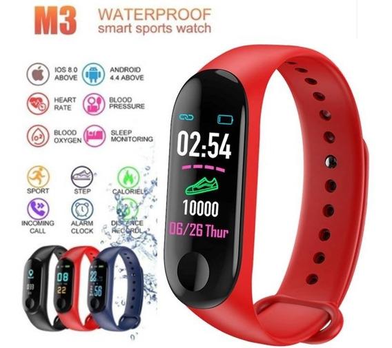 Relógio Smart Band M3 Vermelho Pulseira Inteligente Resistente A Água Com Freqüência Cardíaca