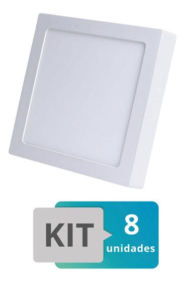 Kit 8 Painel Plafon Led Sobrepor Quadrado 18w Branco Frio
