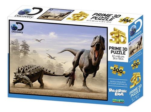 Puzzle Rompecabeza 500pzs Prime 3d Pelea De Dinosaurios10331