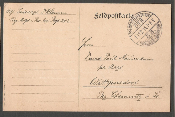 1° Guerra Alemania 1914 Feldpostkarte A Wittgensdorf - 206