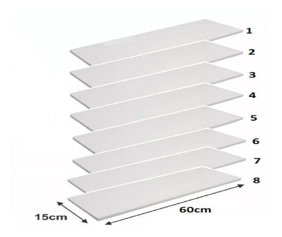 Prateleiras Kit Com 8 Peças 60x15 (cm) Em Mdf Branco 15mm