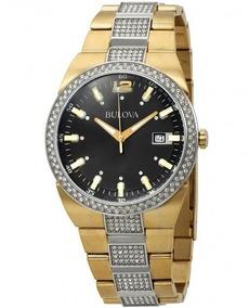 Relógio Masculino Bulova Dourado/preto Cristal Swarovski