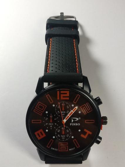 Relógio Masculino Gt Sport Preto E Laranja Pulseira Silicone