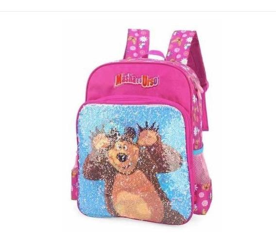 Mochila Escolar Infantil Masha E O Urso 2 Em 1 Lantejoula