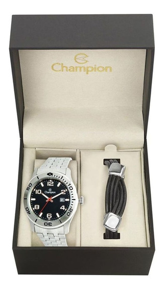Relógio Champion Maculino Kit Pulseira Couro Ca31542c