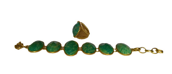 Kit Anel + Pulseira Verde Água Pedra Banhado Ouro Dourado