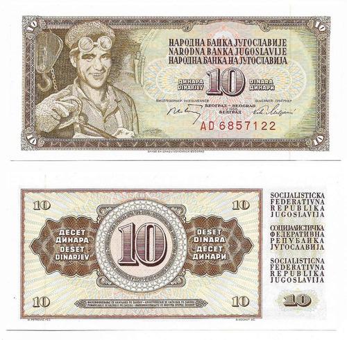 Imagen 1 de 1 de Billete Yugoslavia 10 Dinara 1968 Papel Moneda Unc