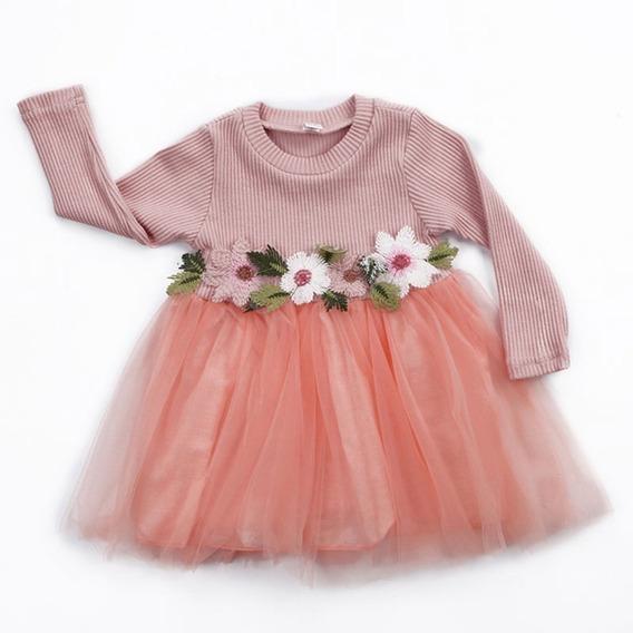 Hermoso Vestido De Bebe Niña Modelo Flores Fiesta #6