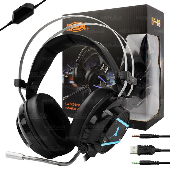 Headset Gamer C/ Microfone Com Subwoofer Fone P2 Led - Df-88