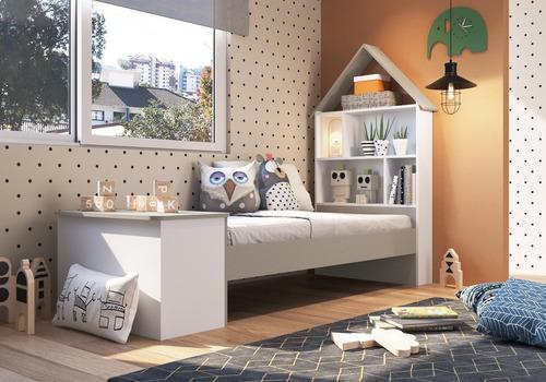 Imagem 1 de 4 de Cama Infantil Com Baú E Estante Children´s House Branco