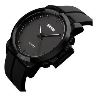 Reloj Hombre Skmei 1208 Acero Analógico Sumergible 30mts Color Negro